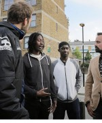 Fight for the estate: the Evening Standard's owner Evgeny Lebedev meets Football Beyond Borders founder Jasper Kain, far left, and friends of Timon Dixon who campaigned for a new football pitch (Matt Writtle)